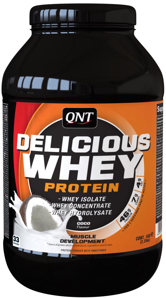 QNT Протеин сыворотки Delicious, кокос, 1 кг протеин qnt белковая смесь easy body protein банан клубника 350 г