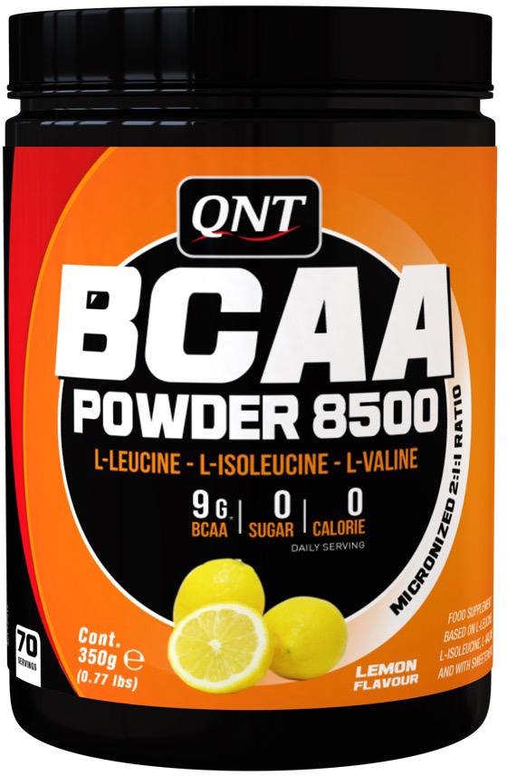 BCAA QNT8500, лимон, 350 гQNT1123BCAA аминокислоты очень быстро усваиваются организмом и при этом попадают непосредственно в мышечную ткань. В пиковую нагрузку на тренировке они могут выступать в качестве дополнительного источника энергии и способствовать достижению максимального результата. Комплекс BCAA от QNT служит надежным помощником и эффективным восстановителем для спортсменов любого уровня.Товар не является лекарственным средством.Товар не рекомендован для лиц младше 18 лет.Могут быть противопоказания и следует предварительно проконсультироваться со специалистом. Состав: L-лейцин, L-изолейцин, L-валин; регулятор кислотности лимонная кислота Е330; натуральный ароматизатор, подсластители (сукралоза Е 955 и ацесульфам калия Е 950); эмульгатор лецитин Е322; краситель рибофлавин Е 101.