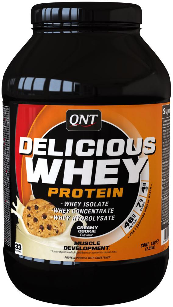 QNT Протеин сыворотки Delicious, крем/печенье, 2,2 кгQNT1134Delicious Whey Protein источник протеина, направлен на увеличение мышечной массы. Концентрированный состав изолята и гидролизата сывороточного протеина поставляет все незаменимые аминокислоты. Представлен разнообразными и яркими вкусами.