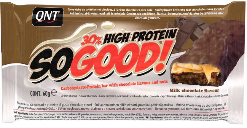 QNT Шоколадный батончик Кью Эн Ти СоГуд, Молочный шоколад, 60 г высокопротеиновый батончик vplab 40% шоколад ваниль