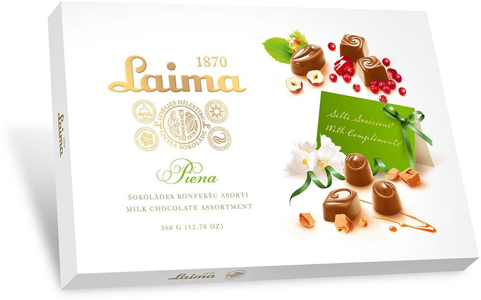 Laima Ассорти конфет в молочном шоколаде, 360 г декор с коробкой конфет 3