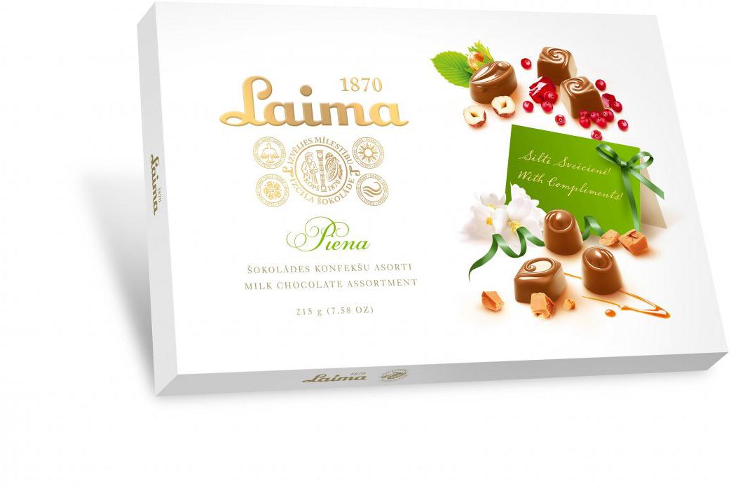Laima ассорти конфет в молочном шоколаде, 215 г драже boffo миндаль в мятном шоколаде 8 штук по 160 г