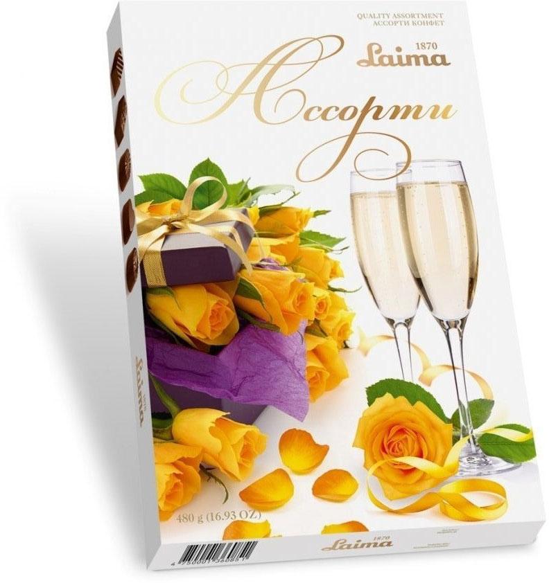 Laima Желтые розы Ассорти шоколадных конфет, 480 г шоколеди конфеты ассорти с начинкой трюфельный крем 150 г розы