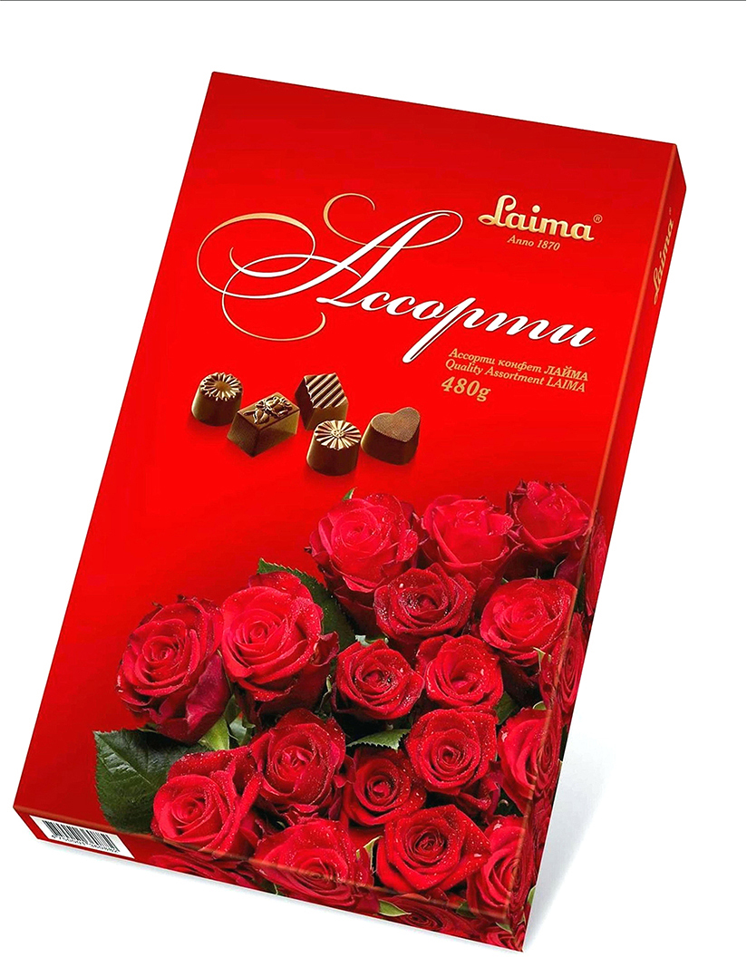 Laima Красные розы Ассорти шоколадных конфет, 480 г букет из кустовой розы огненный