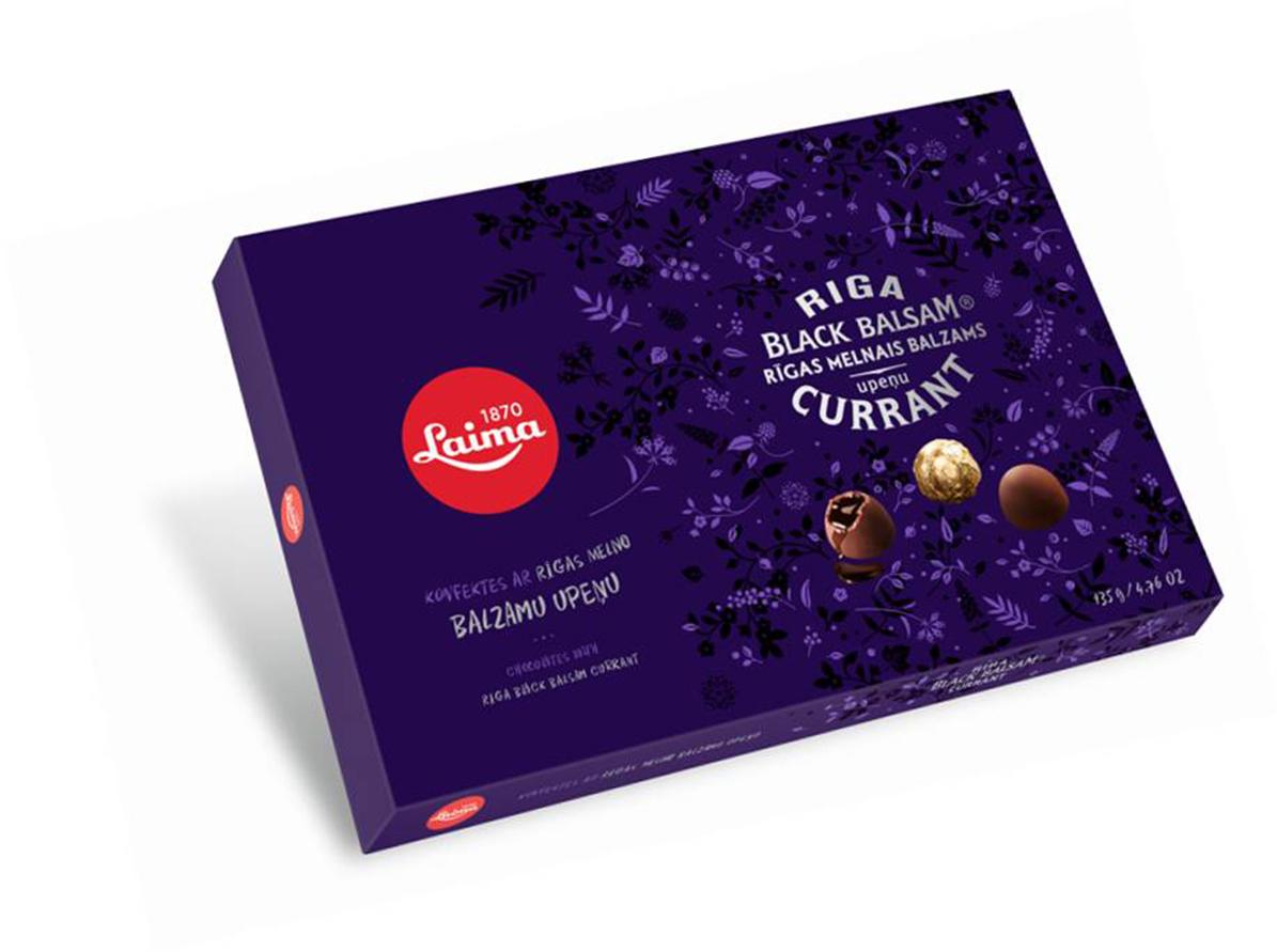 Laima Конфеты ликерные с Рижским бальзамом из черной смородины, 135 г пудовъ кексики шоколадные 250 г