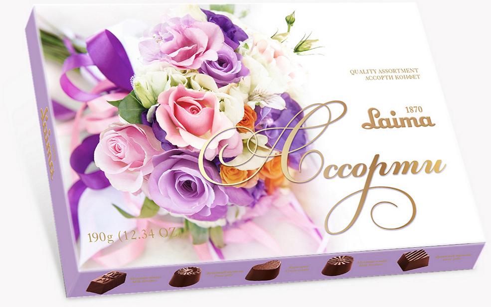 Laima Лиловый букет Ассорти шоколадных конфет мини, 190 г laima классика ассорти конфет мини 190 г