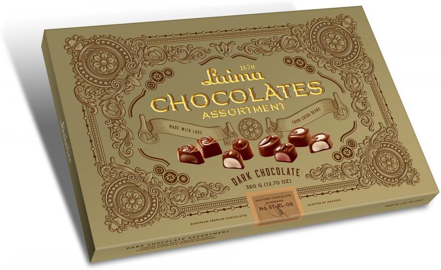 Laima Книги Ассорти конфет в темном шоколаде, 215 г драже boffo миндаль в мятном шоколаде 8 штук по 160 г
