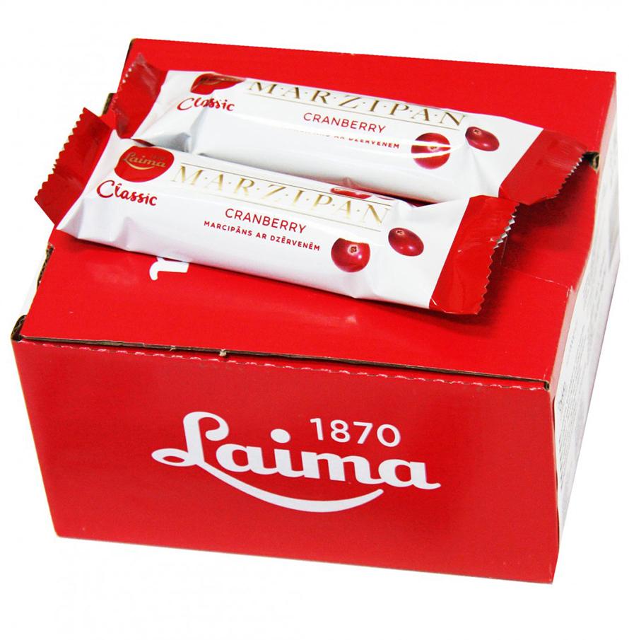 Laima Конфета марципановая с кусочками клюквы шоколадный батончик, 40 г мусс haas шоколадный 65 г