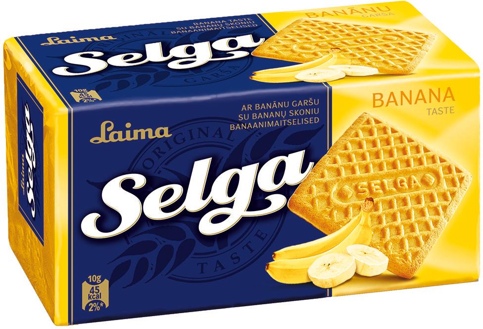 Selga Печенье со вкусом банана, 180 г полноценное сбалансированное питание pediasure малоежка со вкусом банана 200 мл с 12 месяцев