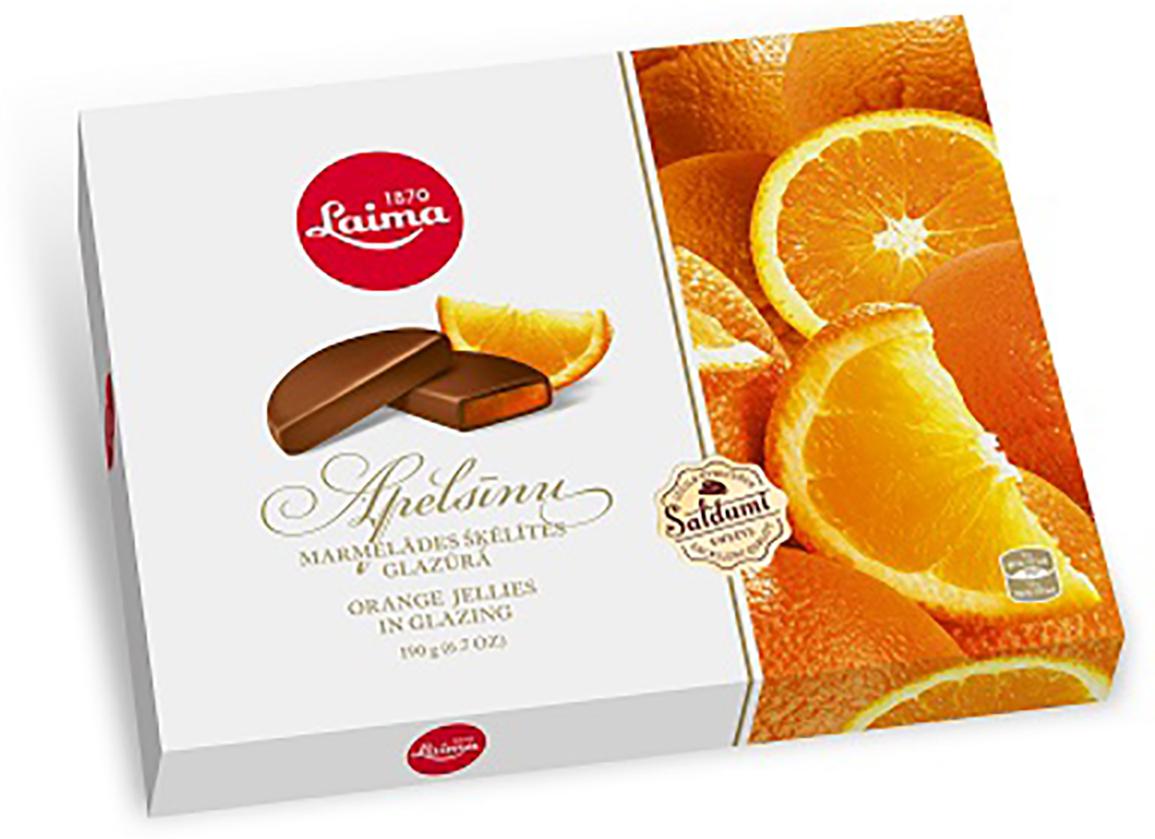 Laima Апельсиновые дольки в глазури мармелад в шоколаде, 190 г pomorzanka макарена мармеладные дольки 200 г