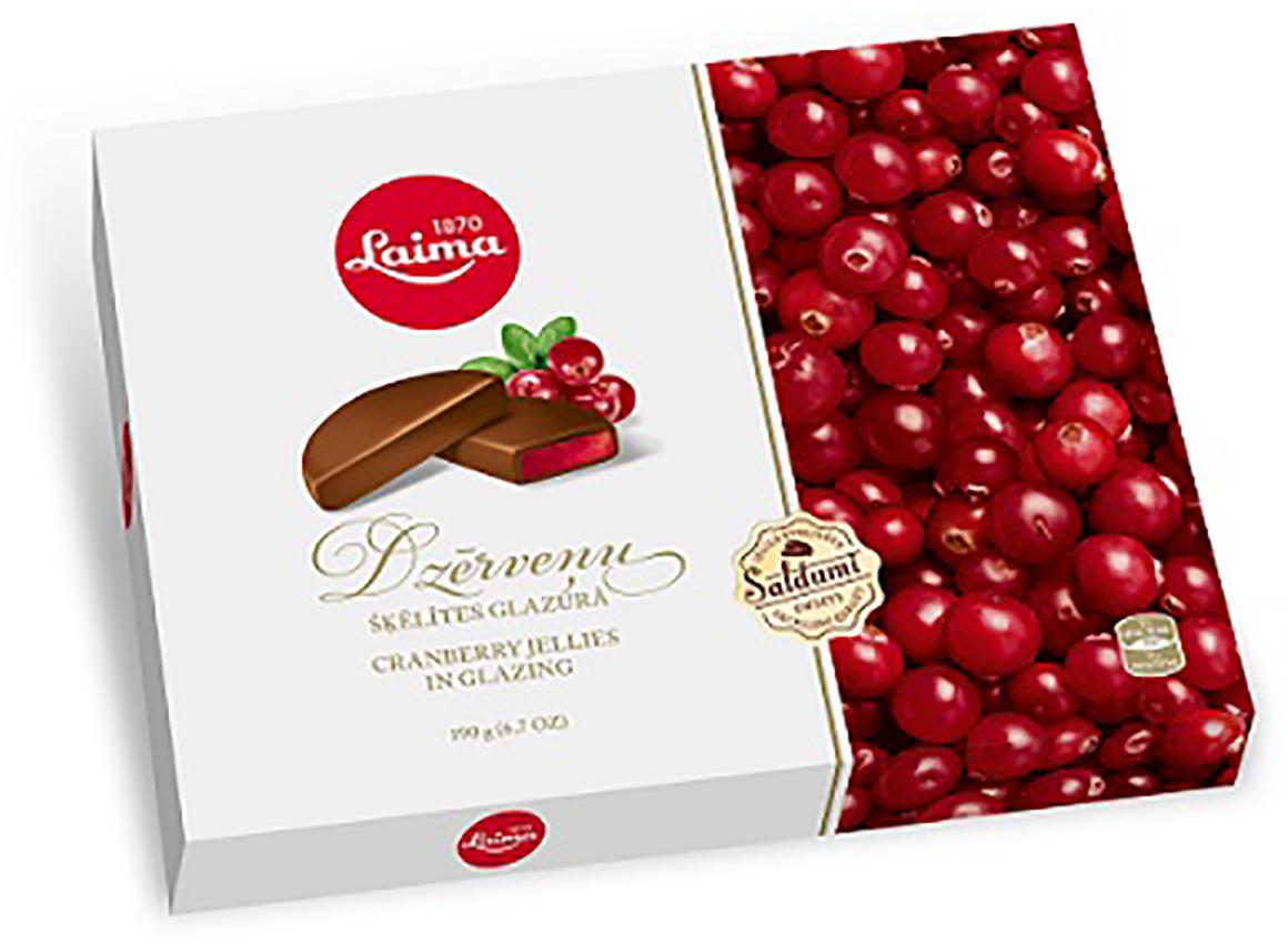 Laima Клюквенные дольки в глазури мармелад в шоколаде, 190 г pomorzanka макарена мармеладные дольки 200 г