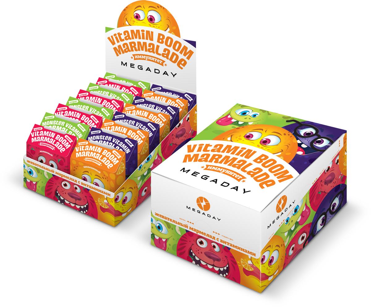 Megaday Kids полезный жевательный мармелад с витаминами в ассортименте, 16 шт по 20 г ego kids гематоген детский с витаминами гена 35 г