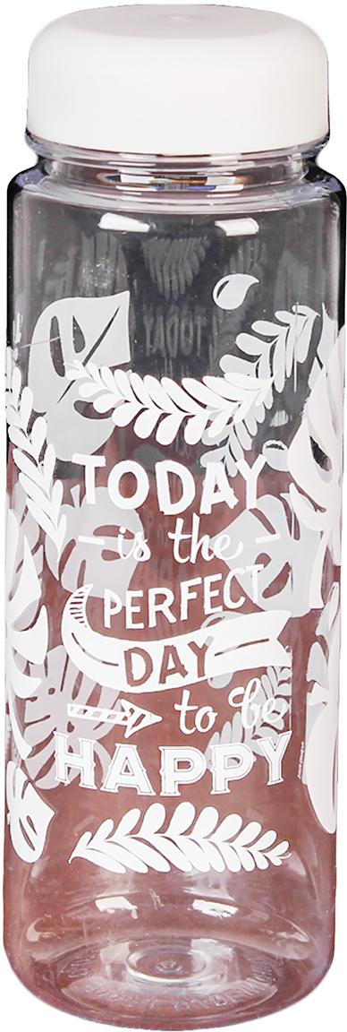 Бутылка для воды Perfect Day To Be Happy, 500 мл2593426Это стильный аксессуар для тренировок или прогулок. Благодаря небольшому размеру ее можно носить в рюкзаке, сумке, закрепить на поясе или велосипедной раме, чтобы она всегда была под рукой.Изделие поможет поддерживать здоровье и хорошее самочувствие, а забавная надпись - отличное настроение