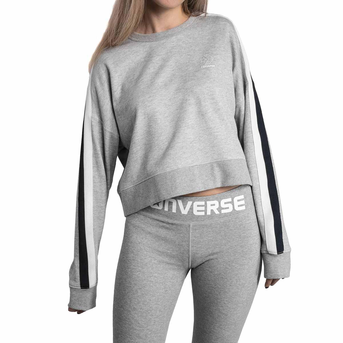 Купить Свитшот женский Converse Star Chervon Track Cropped Crew, цвет: серый. 10005758035. Размер XS (42)