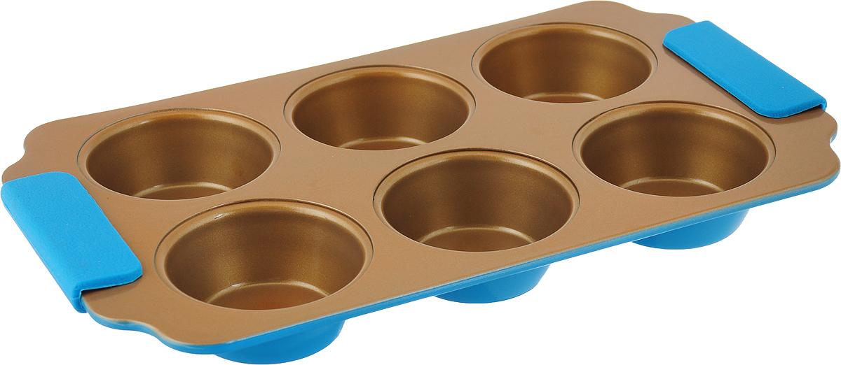"""Прямоугольная форма для выпечки кексов """"Travola"""" изготовлена из высококачественного углеродистой стали. Форма содержит 6 круглых ячеек для кексов.   Форма равномерно распределяет тепло по всей внутренней поверхности, предотвращает пригорание пищи и способствует ее быстрому приготовлению. Еще более удобным процесс готовки делают специальные силиконовые ручки.  Простая в уходе и долговечная в использовании форма """"Travola"""" будет верной помощницей в создании ваших кулинарных шедевров.  Можно мыть в посудомоечной машине и использовать в духовке. Подходит для использования в духовках.   Не подходит для использования в СВЧ и в морозильной камере.  Количество ячеек: 6 шт.  Диаметр ячейки: 7 см. Общий размер формы: 30,5 x 17,8 x 3 см."""