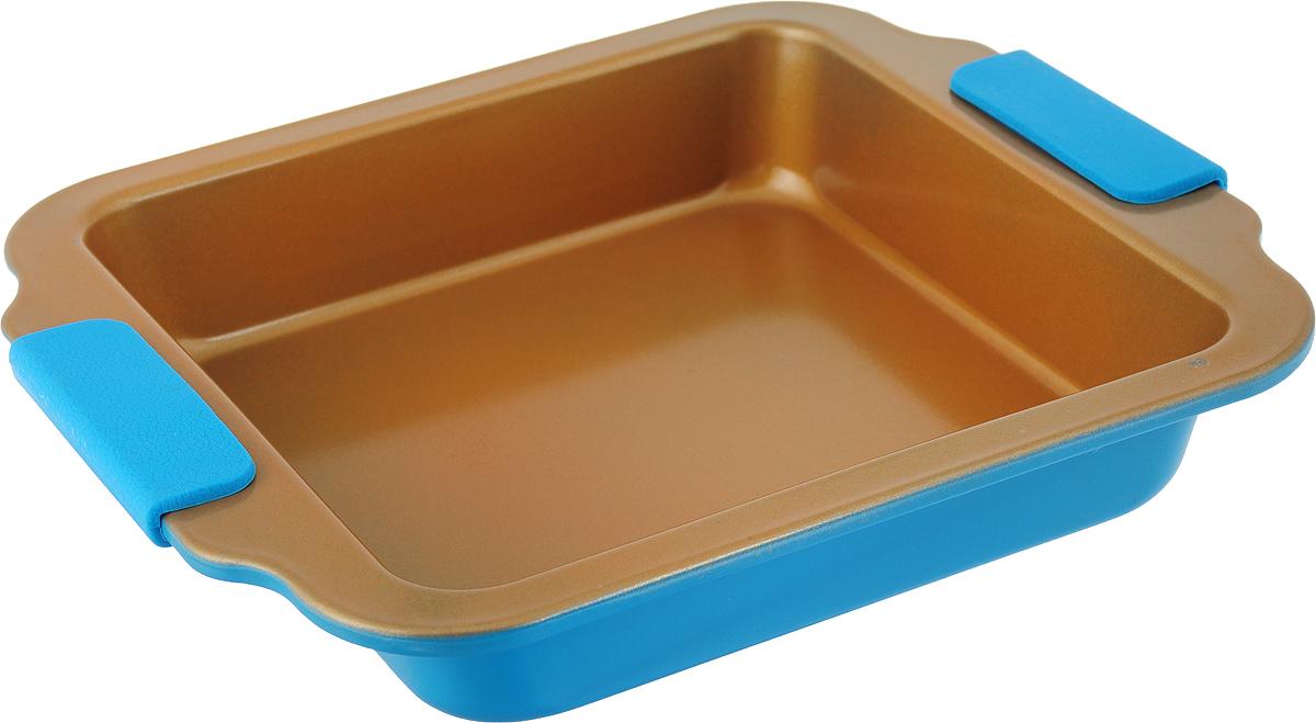 """Квадратная форма для выпечки """"Travola"""" выполнена из углеродистой стали и станет незаменимым предметом на кухне любой хозяйки. С качественной посудой радовать домашних пирогами, кексами, запеканками и прочей вкуснятиной вы сможете хоть каждый день! Форма равномерно распределяет тепло по всей внутренней поверхности, предотвращает пригорание пищи и способствует ее быстрому приготовлению. Еще более удобным процесс готовки делают специальные силиконовые ручки. При приготовлении пищи в форме пользоваться только деревянными аксессуарами. Внутренний размер: 20 х 20 см. Общий размер формы (с учетом ручек): 27 х 23,2 х 4,5 см."""