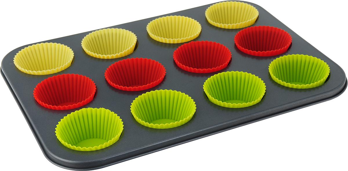 """Прямоугольная форма для выпечки кексов """"Travola"""" изготовлена из высококачественного силикона на металлическом каркасе. Форма содержит 12 круглых ячеек для кексов.   Простая в уходе и долговечная в использовании форма """"Travola"""" будет верной помощницей в создании ваших кулинарных шедевров.  Можно мыть в посудомоечной машине и использовать в духовке. Подходит для использования в духовках.   Не подходит для использования в СВЧ и в морозильной камере.  Количество ячеек: 12 шт.  Диаметр ячейки: 6,7 см. Общий размер формы: 35 x 26,5 x 3 см."""
