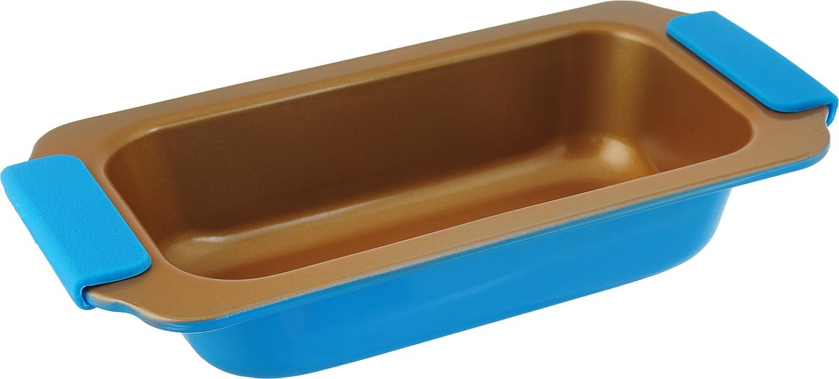 Форма для выпечки Travola, с силиконовыми ручками, цвет: золотистый, голубой, 28,3 х 14,5 х 5,5 см. KCM9380HKCM9380HФорма для выпечки Travola выполнена из углеродистой стали и станет незаменимым предметом на кухне любой хозяйки. С качественной посудой радовать домашних пирогами, кексами, запеканками и прочей вкуснятиной вы сможете хоть каждый день! Форма равномерно распределяет тепло по всей внутренней поверхности, предотвращает пригорание пищи и способствует ее быстрому приготовлению. Еще более удобным процесс готовки делают специальные силиконовые ручки. При приготовлении пищи в форме пользоваться только деревянными аксессуарами.Внутренний размер формы: 21,5 х 11 х 5,5 см. Общий размер формы (с учетом ручек): 28,3 х 14,5 х 5,5 см.