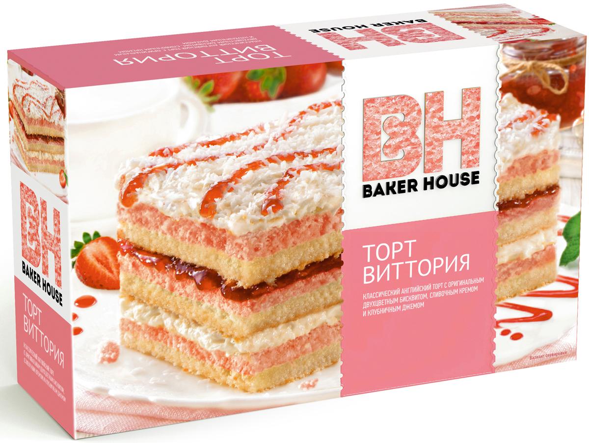 Baker House Виктория торт клубничный, 350 г бисквитные палочки савоярди 400 гр