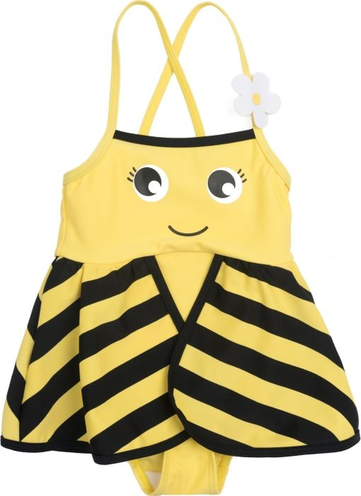 Купальник слитный для девочки PlayToday Baby, цвет: желтый. 288023. Размер 98288023Слитный купальник от PlayToday выполнен из смесового быстросохнущего материала в виде пчелки. Модель с удобными регулируемыми бретелями. Встрочная деталь - пелерина создает эффект крылышек.