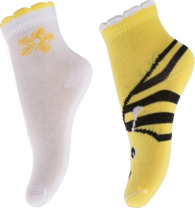 Носки для девочки PlayToday Baby, цвет: желтый, белый, 2 пары. 288022. Размер 17/21288022Носки от PlayToday из смесовой ткани с высоким содержанием натурального хлопка. Хорошо облегают ногу. Аккуратные швы не вызывают неприятных ощущений.