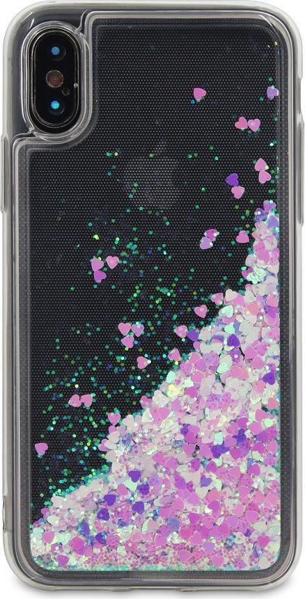 DYP Liquid Case Hearts чехол для Apple iPhone X, Pink SilverDYPCR00036Стильный чехол-накладка с блестками. Силиконовые бортики защищают смартфон от падения. Чехол практически не увеличит размеры и вес смартфона.