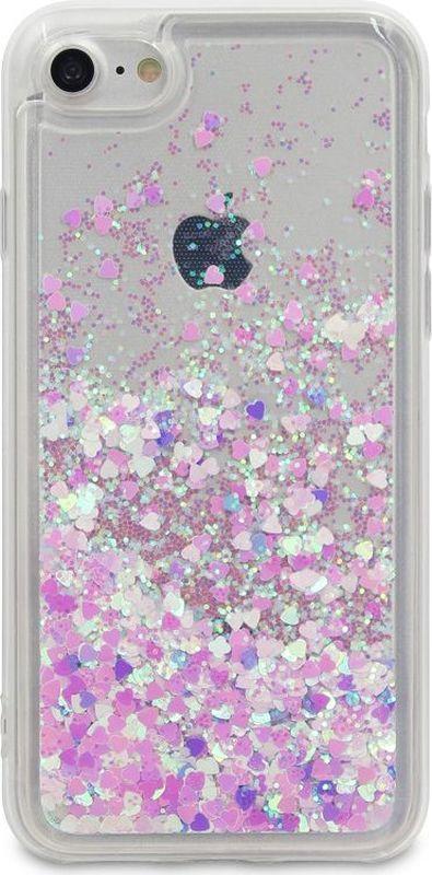 DYP Liquid Case Hearts чехол для Apple iPhone 7/8, Pink SilverDYPCR00037Стильный чехол-накладка с блестками. Силиконовые бортики защищают смартфон от падения. Чехол практически не увеличит размеры и вес смартфона.