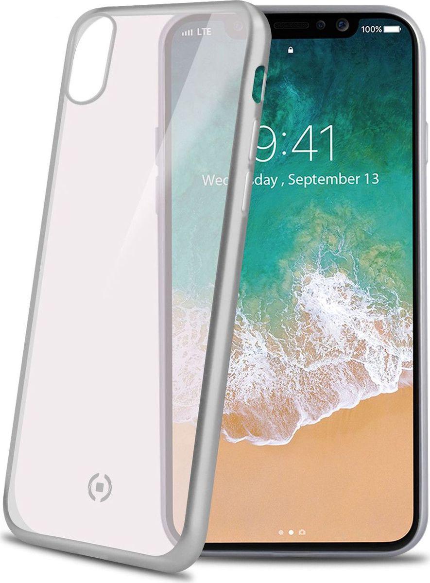 Celly Laser Matt чехол для Apple iPhone X, Transparent Silver