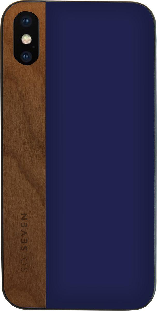 So Seven Dandy чехол для Apple iPhone X, Blue WoodSVNCSCABLIP8Защитный эффектный чехол-накладка, выполнен из полиуретана и натурального дерева. Обеспечивает эффективную защиту Вашего устройства.Материал полиуретан Натуральное дерево Противоударный