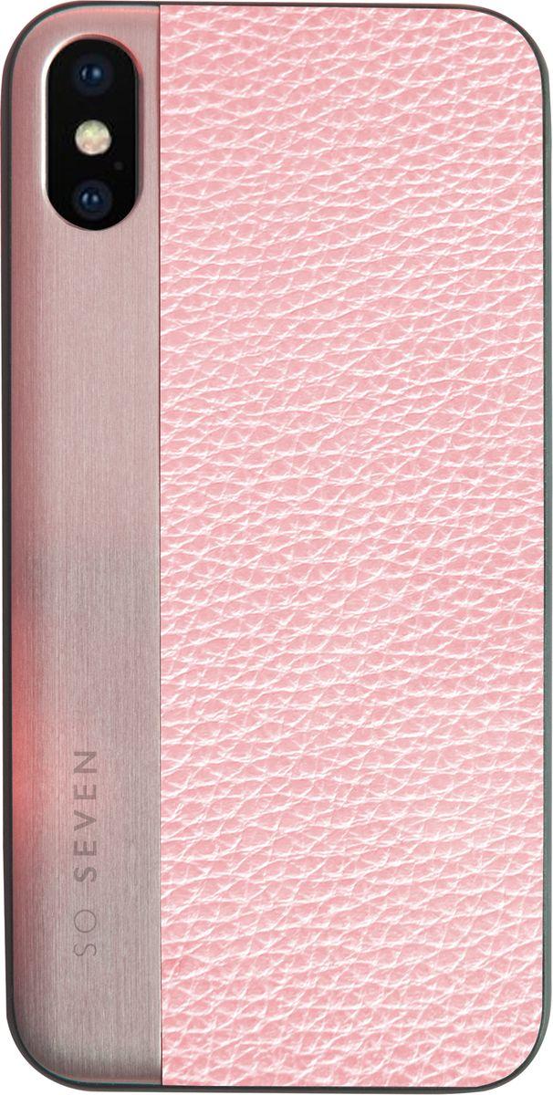 So Seven The Metal Effect чехол для Apple iPhone X, PinkSVNCSMPU2IP8Защитный эффектный чехол-накладка, выполнен из полиуретана, экокожи и натурального дерева. Обеспечивает эффективную защиту Вашего устройства.Материал полиуретан экокожа + натуральное дерево Противоударный