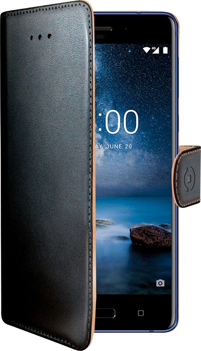 Celly Wally Case чехол для Nokia 8, BlackWALLY682Чехол-книжка Celly Wally Case выполнен из высококачественных материалов и практически не увеличивает размер устройства. А благодаря его удобной конструкции все функциональные кнопки и разъемы остаются свободными. Чехол надежно защитит ваш аппарат от царапин и сколов, механических повреждений, а также позволит хранить кредитные карты или визитки в специально отведенном кармашке. Крышка с застежкой может использоваться как подставка под устройство для удобного просмотра видео.