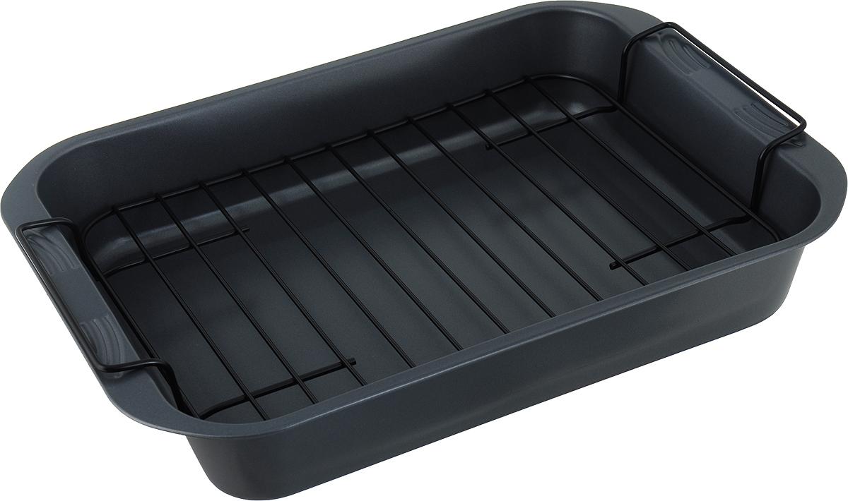"""Прямоугольная форма для выпечки """"Travola"""" выполнена из углеродистой стали и станет незаменимым помощником на кухне любой хозяйки. Форма равномерно распределяет тепло по всей внутренней поверхности, предотвращает пригорание пищи и способствует ее быстрому приготовлению. Форма имеет съемную вставку-решетку.   Подходит для использования в духовках.   Не подходит для использования в СВЧ и в морозильной камере.   Размер решетки (с учетом ручек): 37,5 х 23,5 х 4,5 см. Внутренний размер формы: 33 х 25,5 х 6 см."""