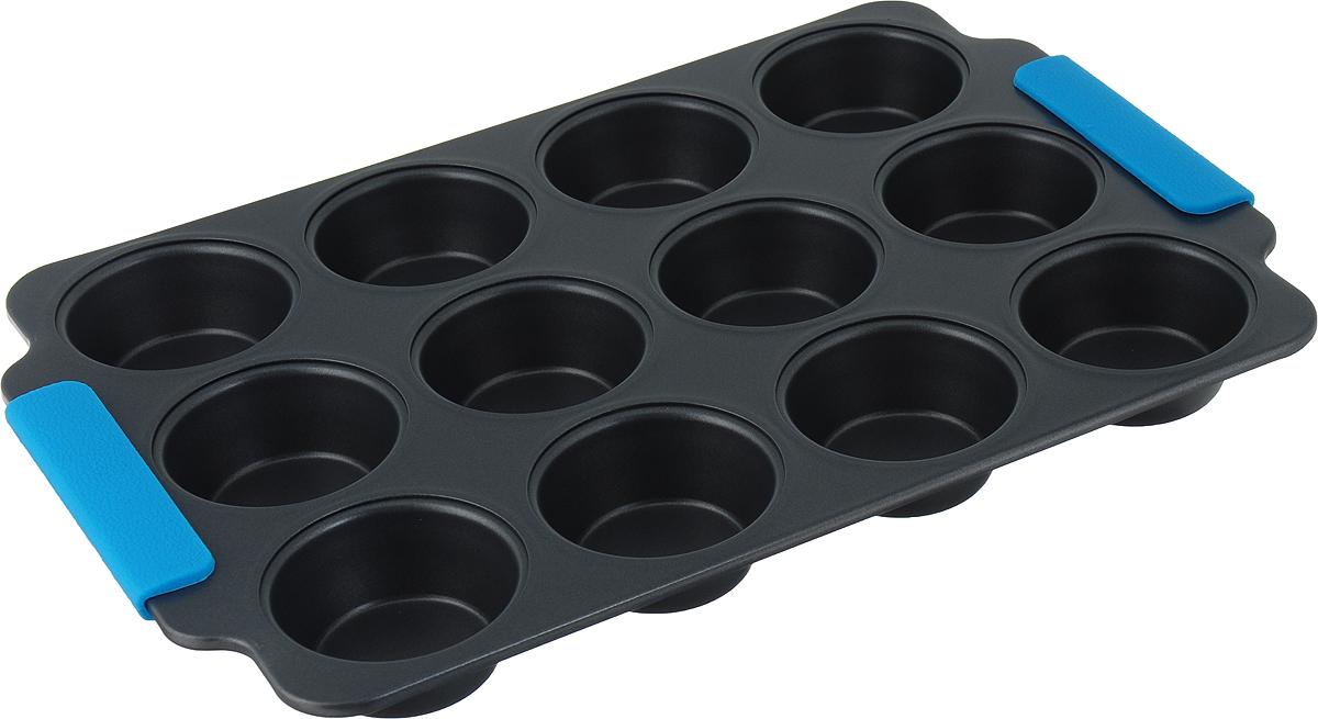 """Прямоугольная форма для выпечки кексов """"Travola"""" изготовлена из высококачественного углеродистой стали. Форма содержит 12 круглых ячеек для кексов.   Форма равномерно распределяет тепло по всей внутренней поверхности, предотвращает пригорание пищи и способствует ее быстрому приготовлению. Еще более удобным процесс готовки делают специальные силиконовые ручки.  Простая в уходе и долговечная в использовании форма """"Travola"""" будет верной помощницей в создании ваших кулинарных шедевров.  Можно мыть в посудомоечной машине и использовать в духовке. Подходит для использования в духовках.   Не подходит для использования в СВЧ и в морозильной камере.  Количество ячеек: 12 шт.  Диаметр ячейки: 7 см. Общий размер формы: 38,3 x 26 x 3 см."""