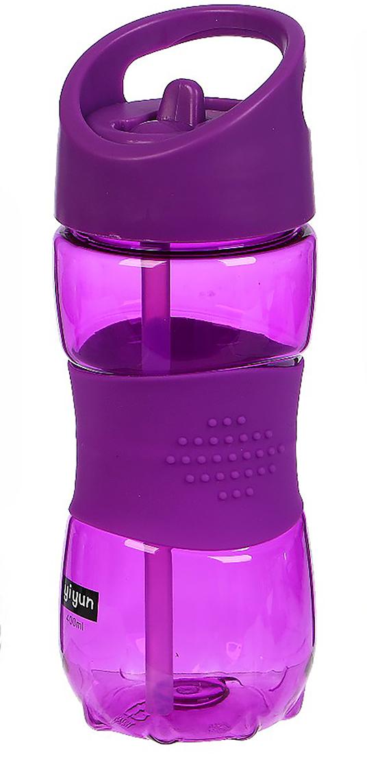 Бутылка спортивная, со вставкой, цвет: фиолетовый, 400 мл