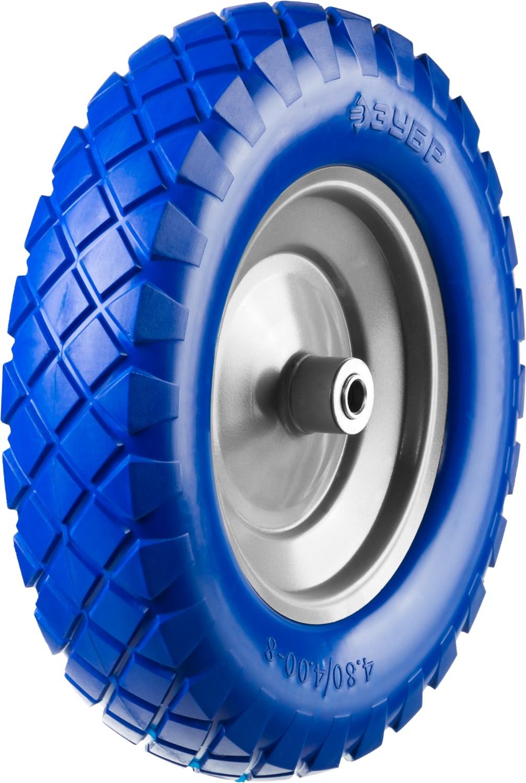 Колесо полиуретановое ЗУБР Профессионал, 350 мм, посадочный размер 25,4 мм камера для колеса тачек 100g 125g