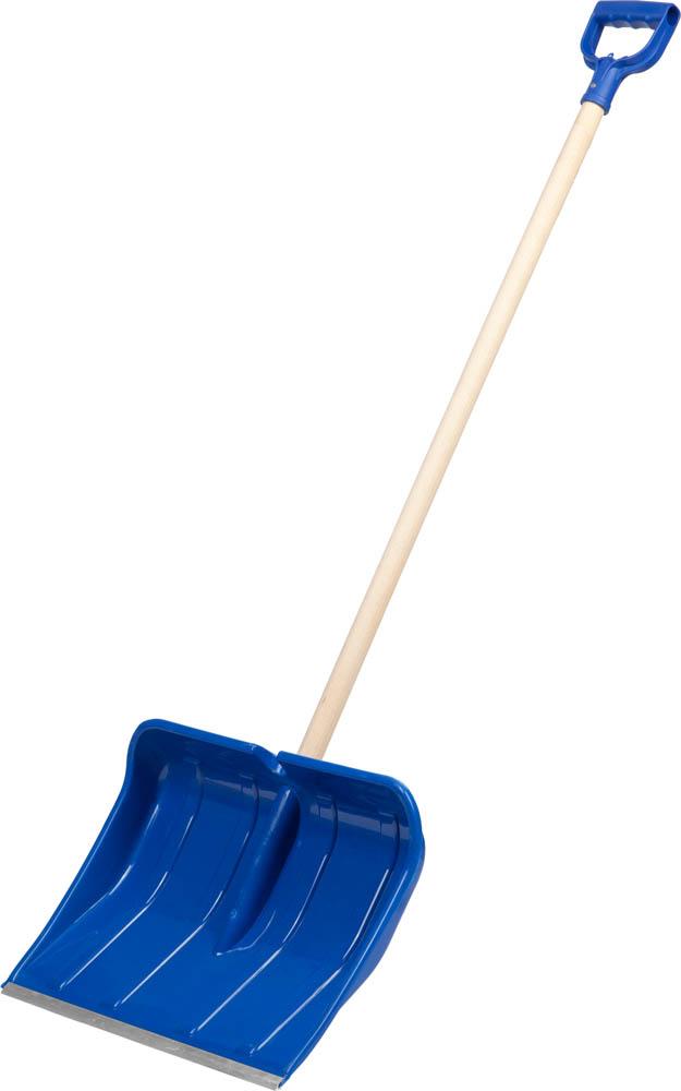 Лопата снеговая ЗУБР Аляска, пластиковая 490 мм62643Снеговая лопата ЗУБР используется для очистки территорий от снега. Этот высококачественный инструмент создан специально для работы в холодное время года и сочетает в себе продуманную функциональность и продолжительный срок службы. Рабочая часть лопаты изготовлена из морозоустойчивого ударопрочного пластика и имеет алюминиевую окантовку, защищающую кромку рабочей поверхности от повреждений. Прочный черенок из твердой древесины высокого качества и пластиковая D-образная рукоятка обеспечивают удобную работу и многолетнее использование. Морозоустойчивый ударопрочный пластик обеспечивает долгий срок службы изделия. Алюминиевая окантовка рабочей кромки имеет легкий вес, не ржавеет и защищает пластик от повреждений. Деревянный черенок высшего сорта имеет эргономичную пластиковую рукоятку, снижающую утомляемость во время работы. Размер: 490х375х1440 мм.