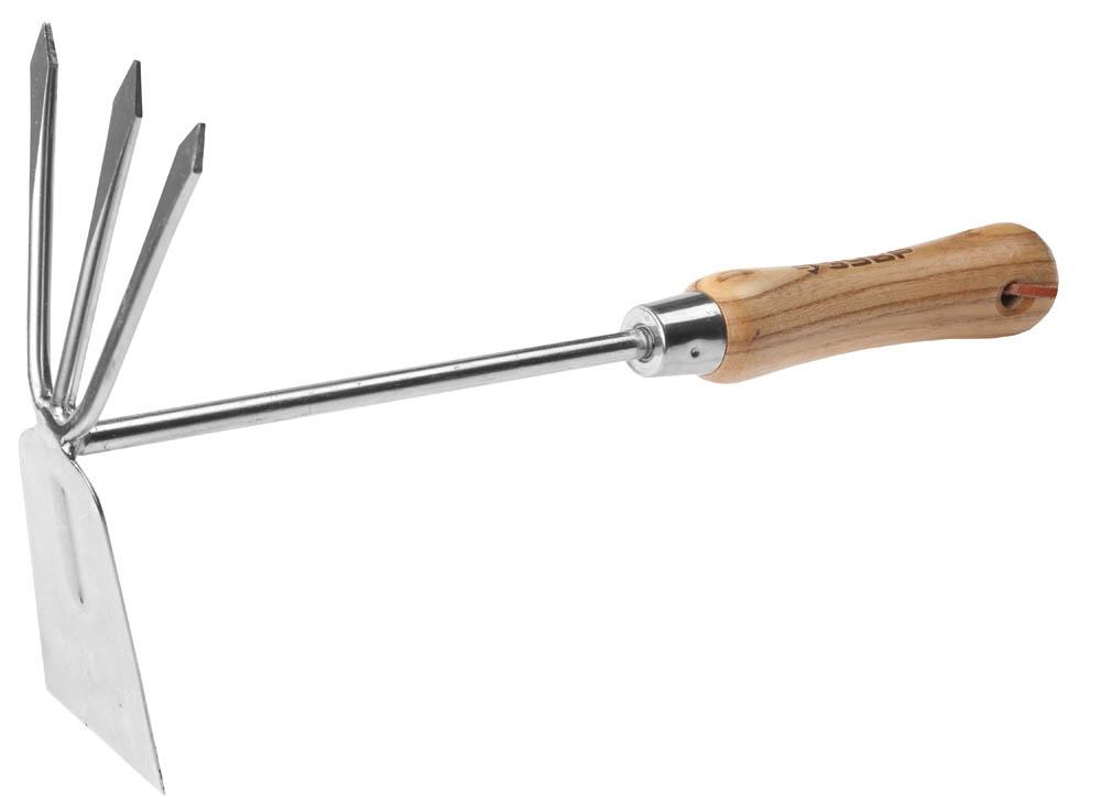 Мотыжка комбинированная ЗУБР Эксперт, прямое лезвие + 3 зубца, 190 х 80 х 330 мм