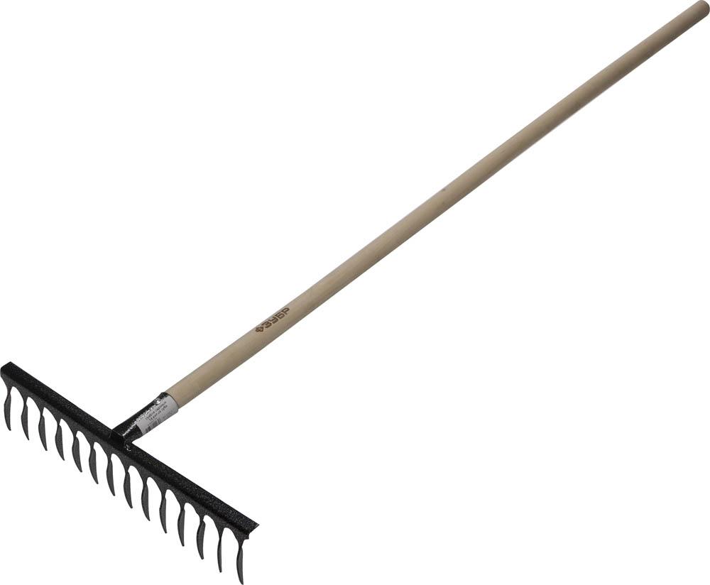 Грабли садовые ЗУБР, с черенком, 14 витых зубцов08796Грабли ЗУБР применяются для очистки газонов от скошенной травы, листьев, для выравнивания грунта. Прочная рабочая часть изготовлена из высокоуглеродистой стали, заточена и закалена, имеет защитное покрытие. Черенок выполнен из твердой древесины. Черенок из твердой древесины обладает высокой прочностью, не выскальзывает из рук. Витые зубья хорошо удерживают сухой мусор на рабочей поверхности.