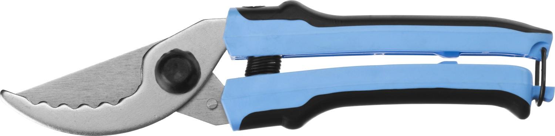 Секаторы СИБИН произведены из качественных материалов на высокоточном оборудовании, что гарантирует чистый рез и продолжительный срок службы изделия. Применяются для обрезки веток деревьев и кустарников, а также стеблей цветов. Лезвия изготовлены из качественной стали Ст45 (ГОСТ 1050-88). Верхнее лезвие остро заточено и закалено. Нижнее лезвие имеет зубчатый профиль для облегчения реза сухих веток. Лезвия имеют никелированное покрытие для защиты от коррозии. Эргономичные двухкомпонентные ручки снижают утомляемость при выполнении садовых работ. Максимальный диаметр реза: 15 мм. Длина: 220 мм.