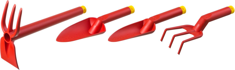 """Садовый инструмент GRINDA - оптимальное решение для вашего сада. Инструменты изготовлены из стеклонаполненного полиамида, не уступающего по прочности металлу. Устойчивы к воздействию повышенных и пониженных температур. Подлежат заточке, как и металлические, но при этом не ржавеют. Съемная заглушка позволяет удлинить черенок. На совках нанесена мерная шкала. -длина рабочей части широкого совка: 125 мм -ширина рабочей части широкого совка: 80 мм -диаметр рукоятки широкого совка: 27 мм -длина рукоятки широкого совка: 130 мм -толщина пластика рукоятки широкого совка: 2,3 мм -общая длина широкого совка: 300 мм -длина рабочей части узкого совка: 125 мм -ширина рабочей части узкого совка: 60 мм -диаметр рукоятки узкого совка: 27 мм -длина рукоятки узкого совка: 130 мм -толщина пластика рукоятки узкого совка: 2,3 мм -общая длина узкого совка: 290 мм -длина зубцов рыхлителя: 43 мм -Ширина рабочей части рыхлителя: 80 мм -диаметр рукоятки рыхлителя: 27 мм -длина рукоятки рыхлителя: 130 мм -толщина пластика рукоятки рыхлителя: 2,3 мм -общая длина рыхлителя: 270 мм -число зубцов рыхлителя: 3 шт -форма зубцов рыхлителя: прямые  -длина рабочей части мотыги: 95 мм -ширина рабочей части мотыги: 75 мм -форма мотыги: """"лопатка""""  -длина рукоятки мотыги-рыхлителя: 325 мм."""