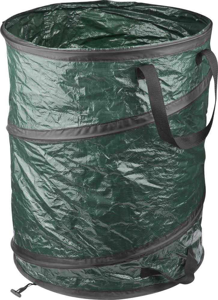 Контейнер GRINDA садовый предназначен для сбора опавшей листвы, сорняков и другого садового мусора. При выполнении различных работ на  садовом и приусадебном участке часто требуется использование какой-либо емкости, имеющей большой объем, но при этом легкой и удобной для  переноски. Контейнер садовый станет незаменимым помощником в саду.   Металлическая пружина, вшита в ткань, удерживает контейнер в рабочем положении.  Складная конструкция обеспечивает удобное и компактное хранение изделия.  Три ручки для переноски контейнера и его удобного опустошения.  Объем: 95 л.