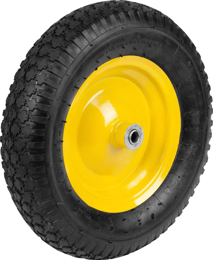 Предназначено для выполнения ремонтных работ тачки арт. 422392, а также аналогичных тачек других производителей. Стальной диск. Стальные подшипники с посадочным размером 16 мм. Отличается прочной конструкцией и обеспечивает легкое перемещение грузов и отличную маневренность тачек. Тип колеса: Пневматическое. Диаметр колеса: 380 мм. Подшипник: Стальной. Внутренний диаметр подшипника: 16 мм. Рабочее давление шины: 1,8-2,0 Атм.