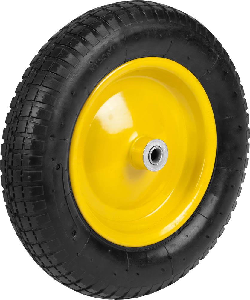 Предназначено для выполнения ремонтных работ тачек арт. 422396 и 422399, а также аналогичных тачек других производителей. Стальной диск. Стальные подшипники с посадочным размером 16 мм. Отличается прочной конструкцией и обеспечивает легкое перемещение грузов и отличную маневренность тачек. Тип колеса: Пневматическое. Диаметр колеса: 360 мм. Подшипник: Стальной. Внутренний диаметр подшипника: 16 мм. Рабочее давление шины: 1,8-2,0 Атм.