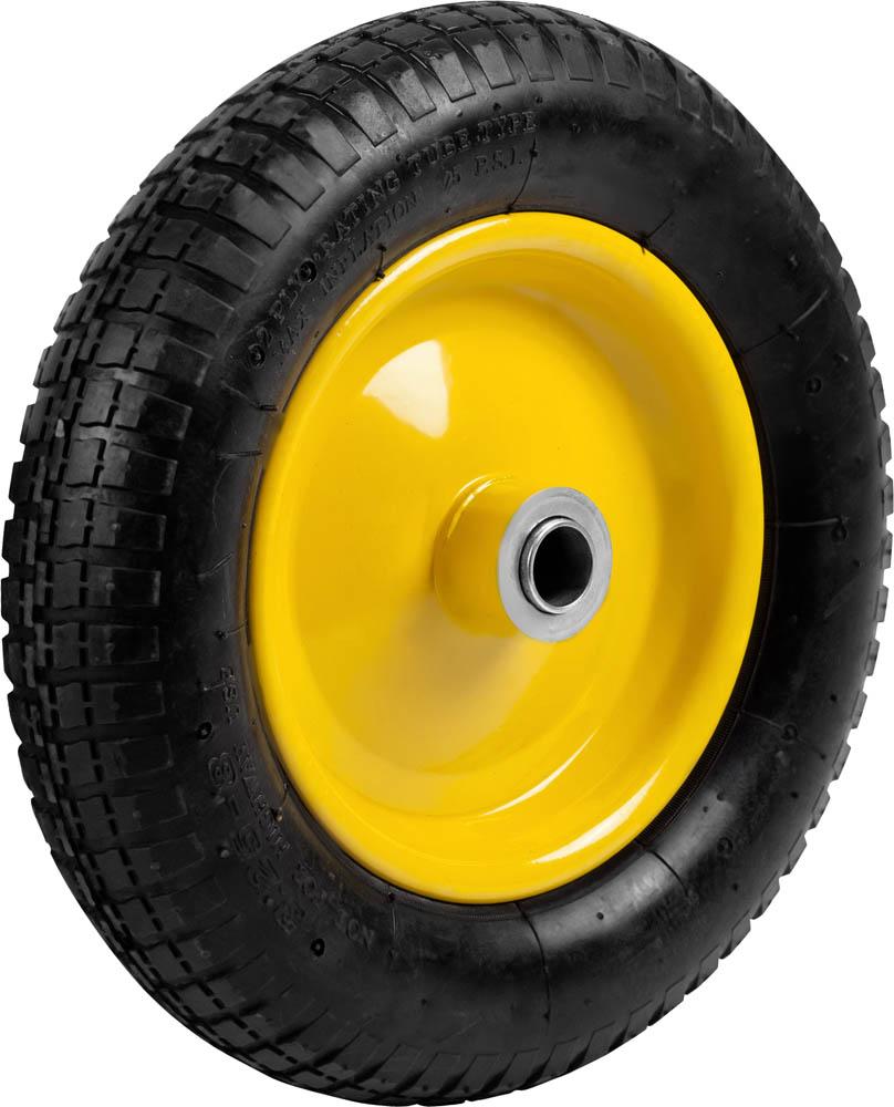 Предназначено для выполнения ремонтных работ тачек арт. 422394, 422397, 422400, а также аналогичных тачек других производителей. Отличается прочной конструкцией и обеспечивает легкое перемещение грузов и отличную маневренность тачек. Стальной диск. Стальные подшипники с посадочным размером 25,4 мм. Перед использованием необходимо накачать колесо до давления 1,8-2 Атм. Тип колеса: Пневматическое. Диаметр колеса: 360 мм. Внутренний диаметр подшипника: 25,4 мм. Рабочее давление шины: 1,8-2,0 Атм.
