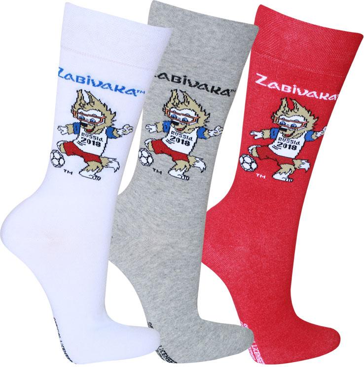 Носки FIFA, цвет: белый, светло-серый, красный, 3 пары. WF111. Размер 25/27