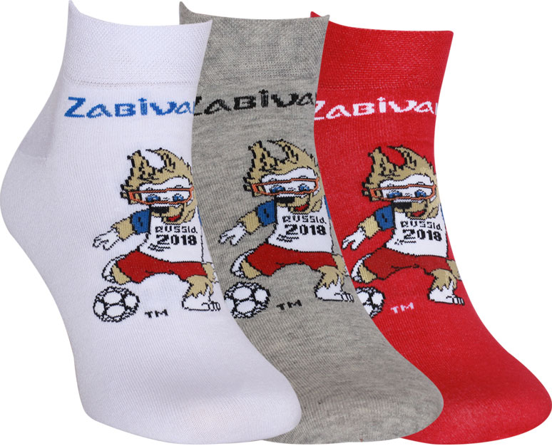 Носки FIFA, цвет: белый, светло-серый, красный, 3 пары. WF151. Размер 25/27