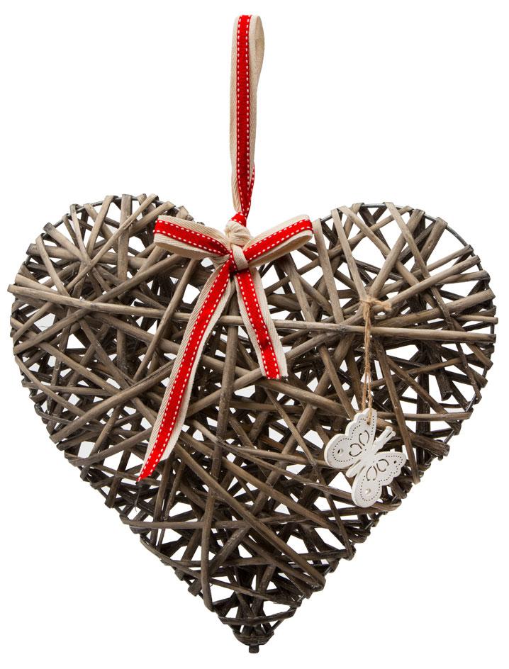 """Подвесное украшение """"Сердце"""" имеет металлический каркас, обтянутый в стиле художественного беспорядка лозой. Для крепления имеется лента. Идеально подходит для декора в доме и свадебных торжеств, а так же может являться подарком ко дню влюбленных."""