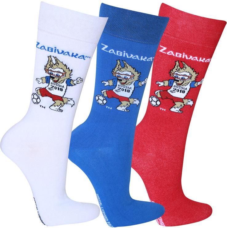 Носки FIFA, цвет: белый, синий, красный, 3 пары. WF110. Размер 27/29