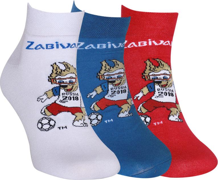 Носки FIFA, цвет: белый, синий, красный, 3 пары. WF150. Размер 27/29