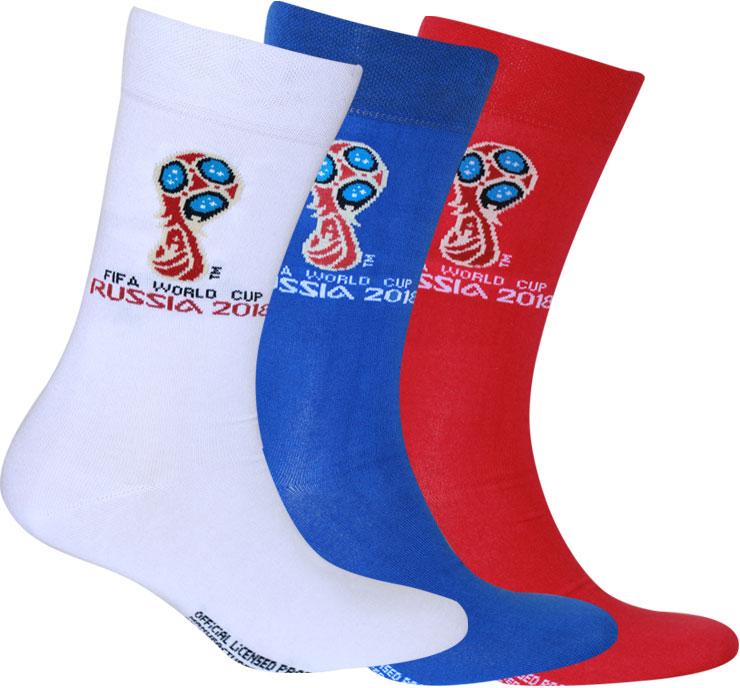 Носки FIFA, цвет: белый, синий, красный, 3 пары. WF210. Размер 25-27 (39/41) белье acoola носки 3 пары цвет ассорти размер 16 18 32214420034